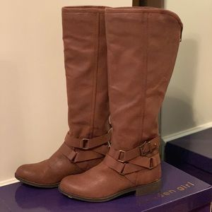 NWT Madden Girl Corporal Cognac Boots Size 8